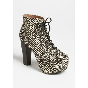 Jeffrey Campbell Lita Fur Big Cat Lace-Up Booties